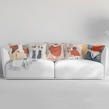 Creative Cartoon Cushion Cover Modern Girl Print Polyester Pillow Cases Bed Sofa Living Room Decor Home Decorative Accessories