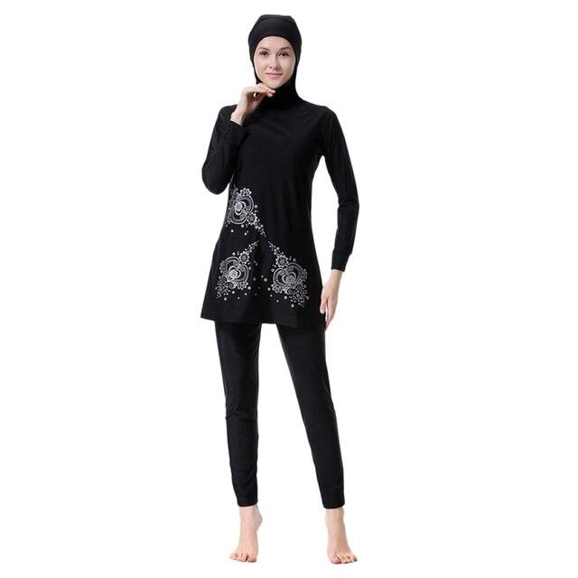 51467bbe0df ROPALIA Floral Print Islamic Swimwear Women Girls Muslim Sets Swimwear Full  Cover Modest Islamic Swimming Suits Burkinis