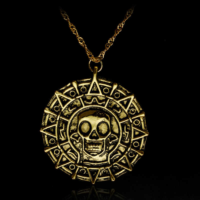 Movie Pirates of the Caribbean Necklace Aztec coin Vintage Gold Captain Jack Sparrow Medallion Skull Pendant Necklaces For Men