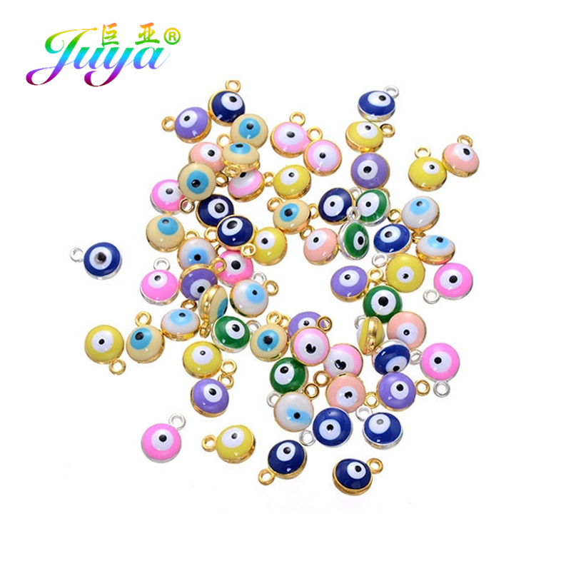 Juya Enamel Charms Evil-Eye-Pendant Jewelry-Making Turkish Colorful Handmade Women Classic