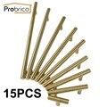 Probrico 15 pcs aço inoxidável ouro diâmetro 12mm centro do furo de 50mm ~ 256mm armário de cozinha maçaneta da porta móveis puxador de gaveta puxar