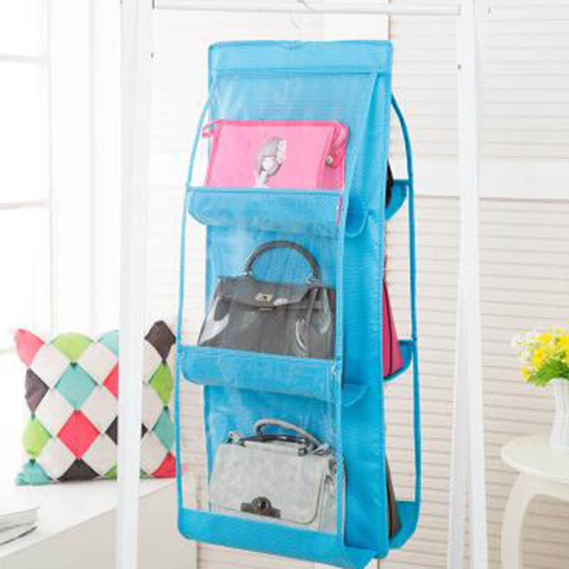 Двусторонний дизайн подвесной мешок 90 см x 35 см x 35 см шкаф для хранения спальня хранение нетканый материал двухсторонний шесть сетки - Цвет: sky blue