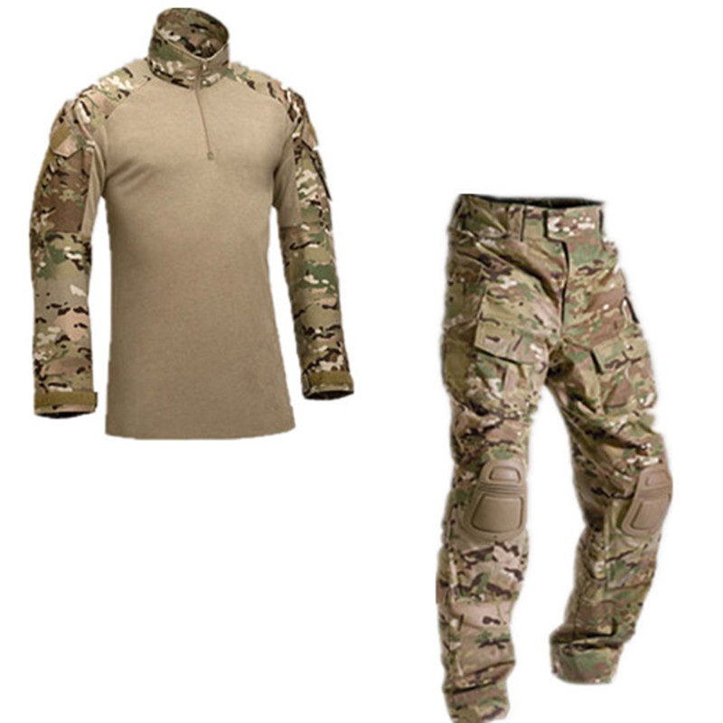 With elbow knee pads camouflage military tactical uniform suits outdoor hunting training camping combat shirt pants