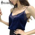 Sexy Lace Up Patchwork Velour Slip Camis Tank Top 2016 Europe US Women Casual Female Clothing Velvet Small Vest