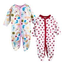 2pieces / lot Babyspielanzug mit langen Ärmeln Pyjamas Cartoon gedruckt Neugeborenen 100% Baumwolle Baby Mädchen Jungen Kleidung