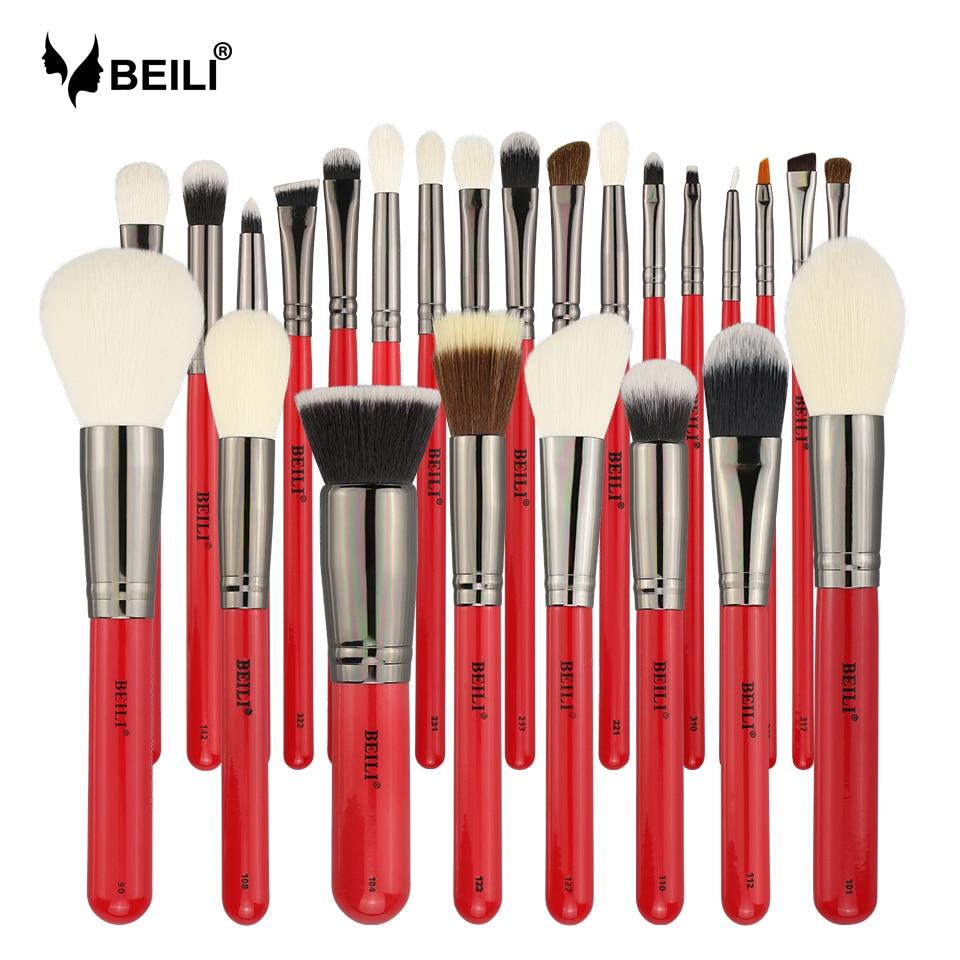 BEILI 25pcs Professional Natural Hair Bristles Makeup Brushes Set Powder Foundation Blusher Eye Shadow Eyebrow Eyeliner Contour