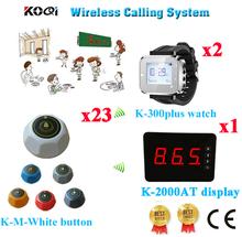 Bezprzewodowy kelner obsługa stronicowania otrzymać telefon zwrotny od wywołanie systemu restauracja bezprzewodowy głos Panel + zegarek + otrzymać telefon zwrotny od (1 wyświetlacz + 2 zegarek + 23 przycisk połączenia) tanie tanio K-2000AT+K-300plus+K-M-White Ycall Wireless Waiter Service Paging Call Calling System 433 92mhz 60*60*35mm one year 200-300M in open area