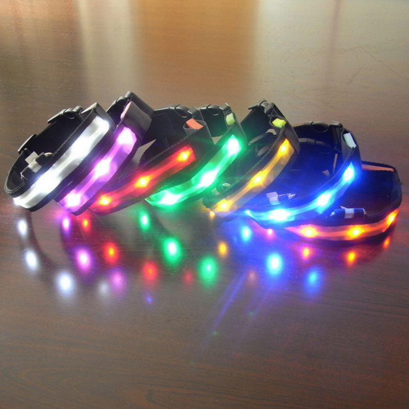 1PC Little Puppy Dog Collor LED Lights Pet Dog Collar Soft Nylon Collar Necklaces Decor Dog Harness Leashes Accessories
