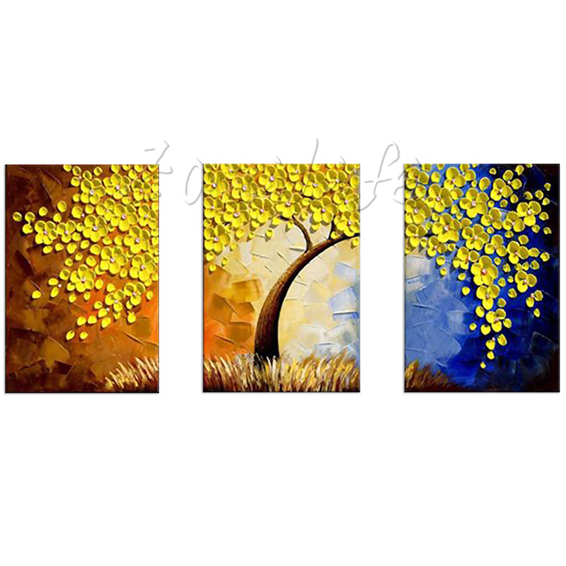 Hand Painted tree Oil painting,3 Pieces Panel Wall Art Palette Knife ...