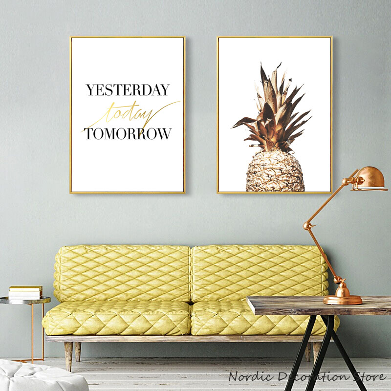 Excellent Us 3 16 46 Off Nordic Yellow Gold Pineapple Posters And Prints Two Wall Art Canvas Painting Decoracion Wall Pictures For Living Room Unframed In Caraccident5 Cool Chair Designs And Ideas Caraccident5Info