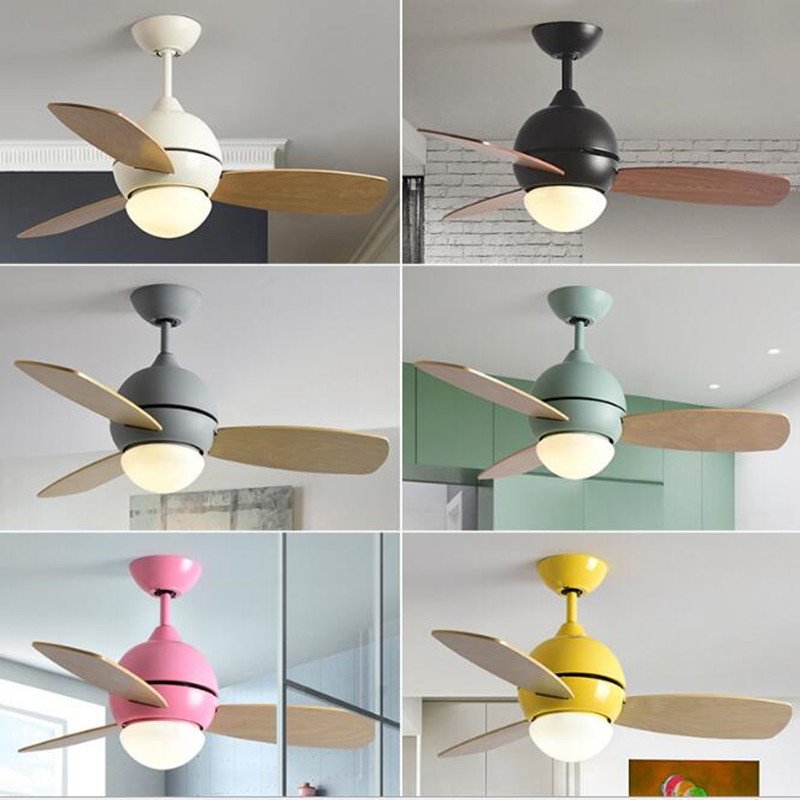 36 Inch Nordic Macaron Study LED Ceiling Fan Light Creative Multicolour Living Room Restaurant Light Lovely Kid's Room Fan Light