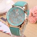 NUEVO Mejor Calidad Reloj de Platino de Ginebra Mujeres de LA PU reloj de pulsera de Cuero casual vestido reloj reloj de las señoras de oro regalo de Moda Romana