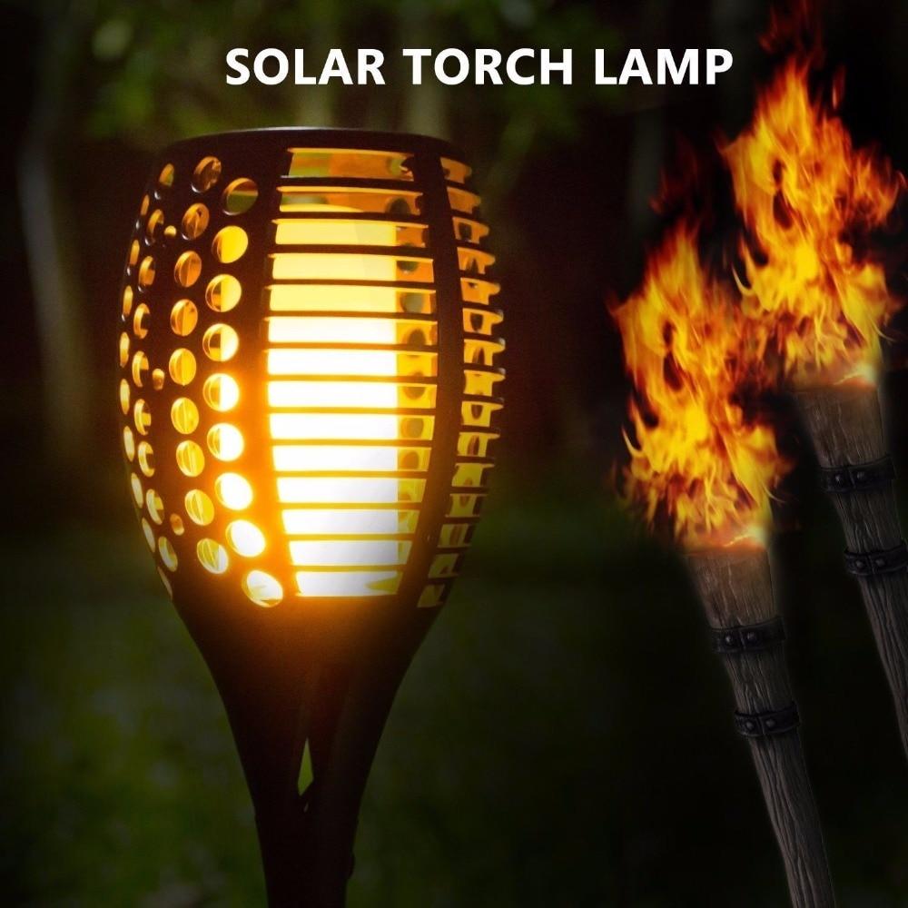 96 LED Solar Torch Light Flickering Lighting Dancing Flame Garden Yeard Lamp Ce