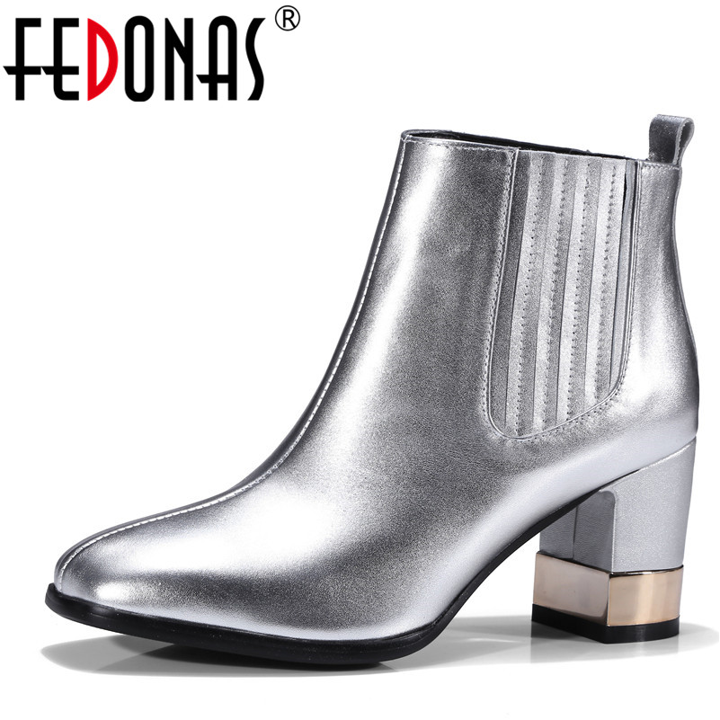 FEDONAS Fashion Women High Heeled Ankle Boots Sexy Square Toe Autumn Winter Martin Shoes Woman Genuine Leather Martin Boots rizabina genuine leather boots rivet square heels autumn winter ankle boots sexy martin fur snow boots shoes woman size34 39
