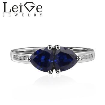 Joyería de Lieja, anillo de zafiro de laboratorio, regalos románticos, piedra natal de septiembre, anillo de Plata de Ley 925, piedra preciosa azul de corte trillion