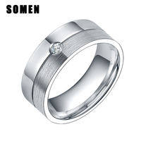 8mm Silver Cubic Zirconia Wedding Band Rings For Women Men 100 Titanium Promise Engagement Rings Fashion