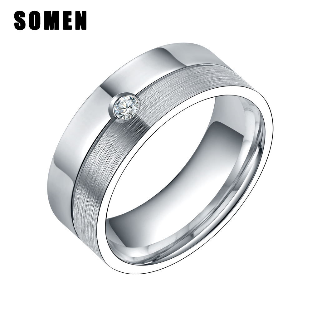 8mm Silver Cubic Zirconia Wedding Band Rings For Women Men 100 Titanium Promise Engagement