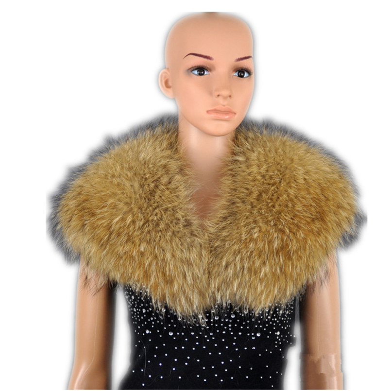 Big fur collar of natural raccoon fur women fake collar autumn winter clothing accessories 100cm length T12