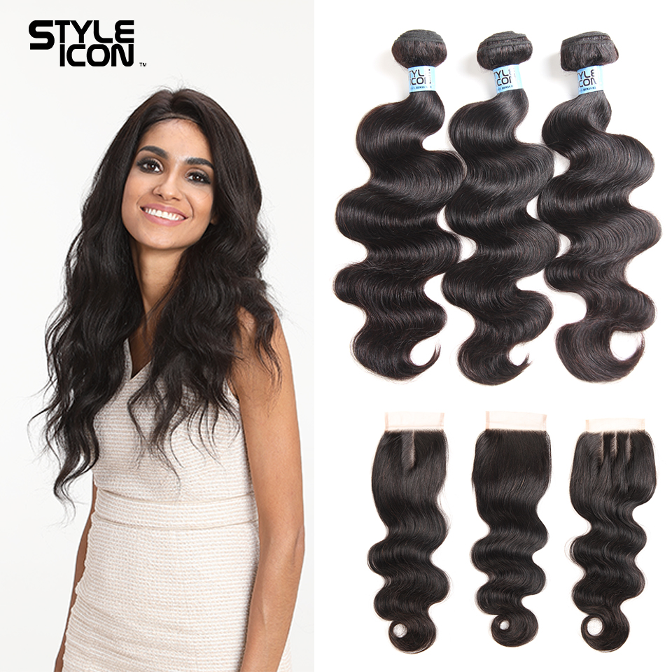Styleicon Human Hair Bundles With Closure Indian Body Wave 3 Bundles With Closure Non Remy Hair With Closure Free Shipping