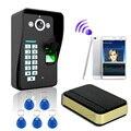 Новый Отпечатков Пальцев + пароль + RFID карты WiFi Беспроводной Видео Домофонные Дверной звонок Главная Домофон ИК ночного видения Камеры с doorring