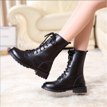 WADNASO  2019 Women Brand Woman Boots Lace Up Flat Biker Combat Black Boots Shoes Woman botas Women Martin Boots Size 35-42 women martin boots black ankle short boots lace up flat boots woman