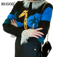 RUGOD New 2018 Spring Women Sweater and Pullovers Cute Giraffe Print Cashmere Sweater Female O neck Long Sleeve Warm Jumper Tops