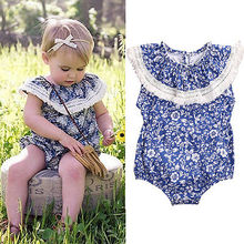 66e431bd1ad7 Floral Newborn Baby Girl Romper 2017 Summer blue and white porcelain Romper  Kids Jumpsuit Outfits Sunsuit