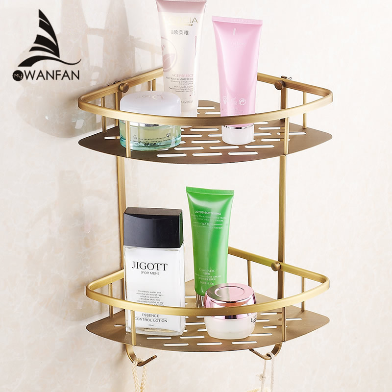 Wall Mounted Antique Finish New Brass Bathroom Shower Shelf Basket Holder Building Materials Vintage Free Shipping Hj 823