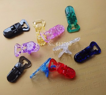 Wholesale 400 pcs Transparent Plastic Pacifier Clip Fit for Mam Baby Dummy Soother Clip Suspender Clip for 10 mm ribbon