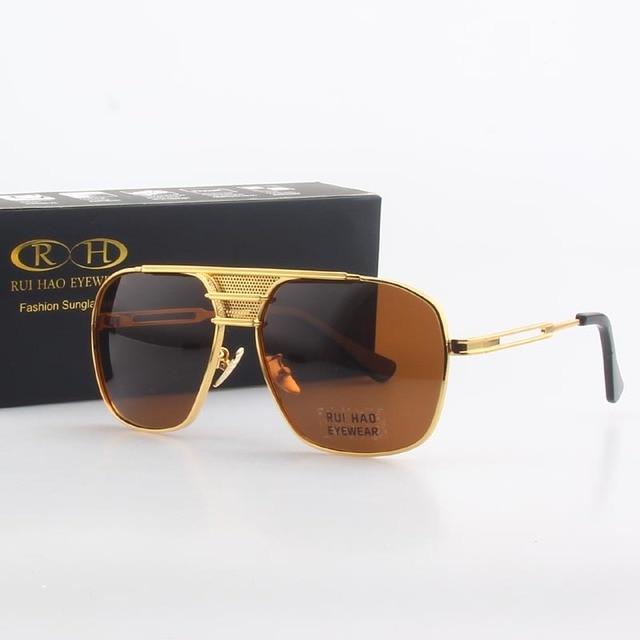 Polarized Sunglasses Men Double beam Retro Design Driving Sun Glasses Man Pilot Sunglasses Anti UV lentes de sol hombre PE200