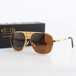 Image 1 - Óculos de sol polarizados homens duplo feixe retro design condução óculos de sol homem piloto óculos de sol anti uv lentes de sol hombre pe200