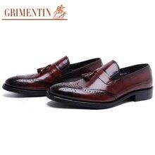 GRIMENTIN 2016 Fashion tassel designer genuine leather mens loafers slip on vintage for business wedding shoes men flats