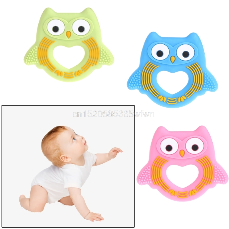 Owl BPA Free Silicone Baby Teether Beads Silicon Teething Chewable Nurse Toys J06 dropshipping