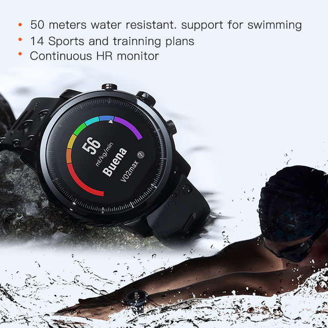 Huami Amazfit Stratos Pace 2 Smartwatch Smart Watch Bluetooth GPS Calorie Count  Heart Monitor 16 Kind Sport Mode 50M Waterproof