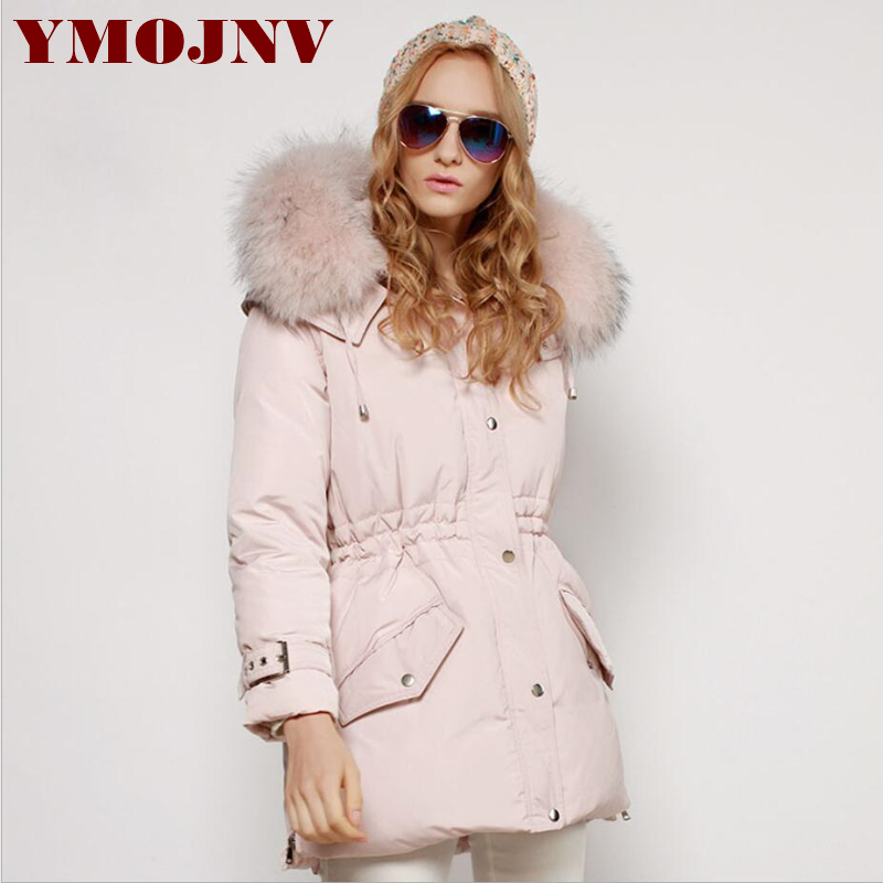 YMOJNV New Winter Coat Real Raccoon Fur Collar Down Jacket Women White Duck Down Parka Medium Long Female Slim Warm Pink Coat high quality real fur female winter in the new middle aged down jacket women white duck down sundae feather thick coat l 5xl