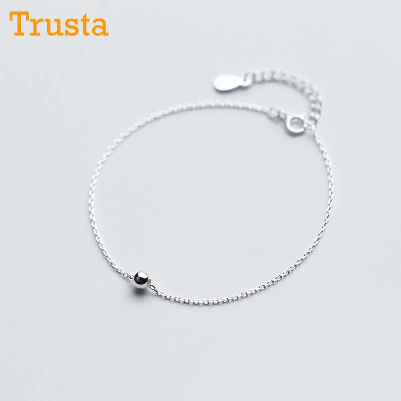 Trusta 2018 100% 925 Sterling Silver Fashion Women Jewelry Round Bead Bracelet 16cm For Gift Girls Lady DS322 Free Shipping