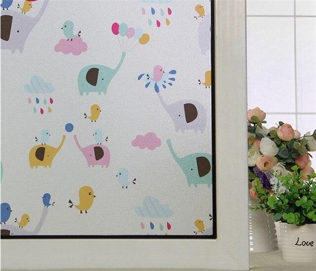 Film de traitement de fenêtre statique | Pour enfants, motif éléphant coloré, pour chambre denfants, Film en verre givré, pour chambre denfants, sticker r90 X300CM