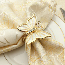 12PCS gold diamond butterfly napkin buckle ring metal alloy cloth