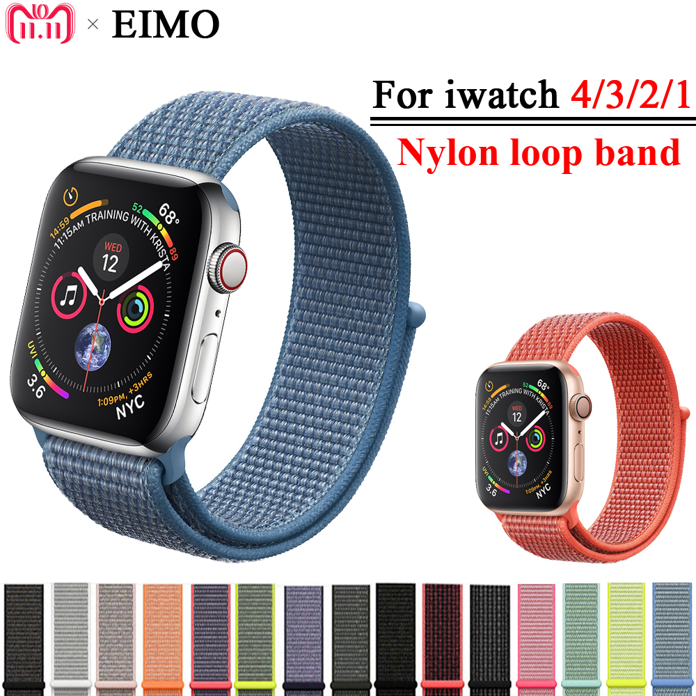 EIMO Sport Loop Strap For Apple Watch band 42mm 44mm Iwatch series 4/3/2/1 40mm 38mm Woven Nylon Bracelet Wrist Watchband Correa eimo sport loop strap correa for apple watch band 42mm 44mm 40mm 38mm iwatch series 4 3 2 1 woven nylon bracelet wrist watchband