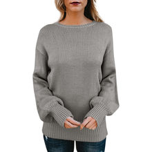 792c02c51 Mujeres Jersey de punto V cuello manga larga abrigo frente suelta coltrui  Sexy suéter Pullover Jumper invierno vestir muchacha d.