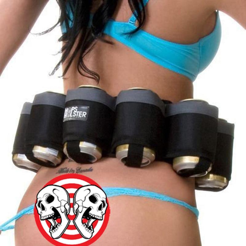 6 Pack Holster Portable Bottle Waist Beer Belt Bag Handy Wine Bottles Beverage Can Holder