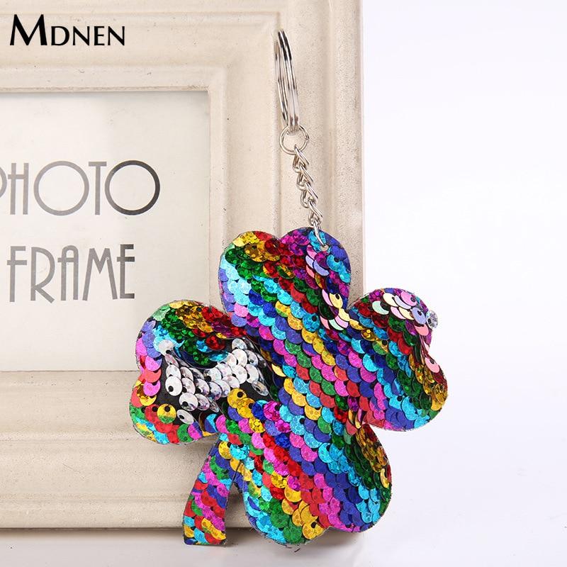 MDNEN Cute WomenFour-leaf Clover Sequins Keychains House Key Chain Glitter Pompom Key Ring Cartoon Leaf Keyholder Women Keyfob