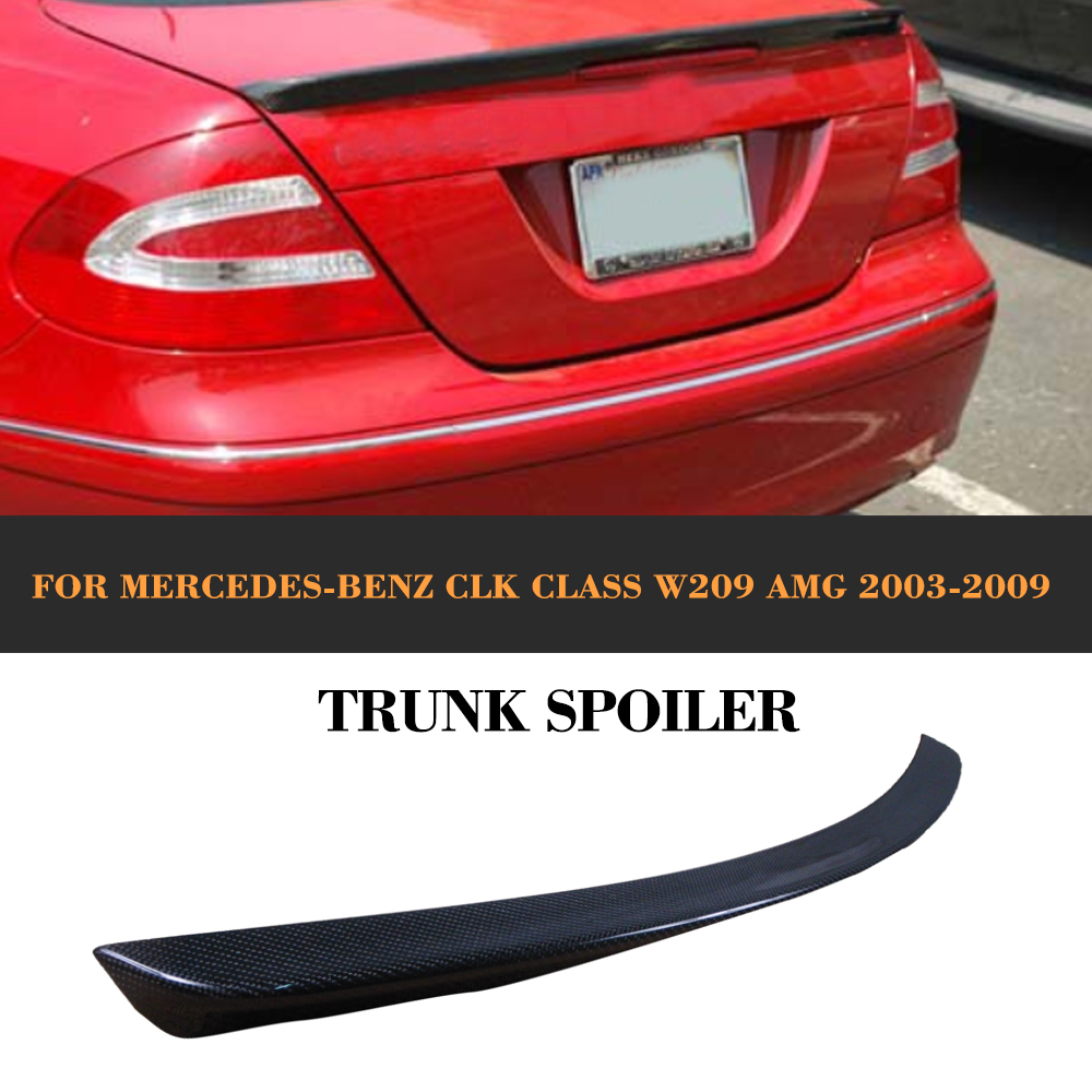 все цены на CLK Class Carbon Fiber car trunk spoiler auto rear trunk wing For Mercedes Benz W209 C209 Coupe 2 Door AMG 2003-2009
