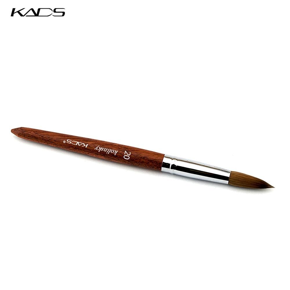 5 pcs/LOT 100% Kolinsky Sable stylo rouge bois acrylique brosse taille 20 # acrylique brosse pour Nail Art brosse outils professionnels