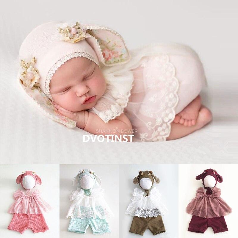 Dvotinst Newborn Fotografia Props Bebê Chapéu Gorro Outfits Clothes Set Acessórios Bebes Brotos de Estúdio Foto Fotografia Adereços