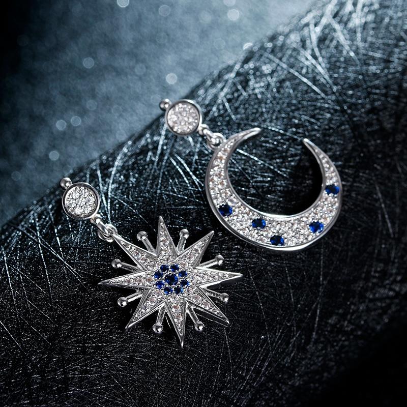 100% 925 mincovní stříbro módní měsíc a hvězdy ženy stud náušnice šperky dámské dárkové velkoobchodní propagace