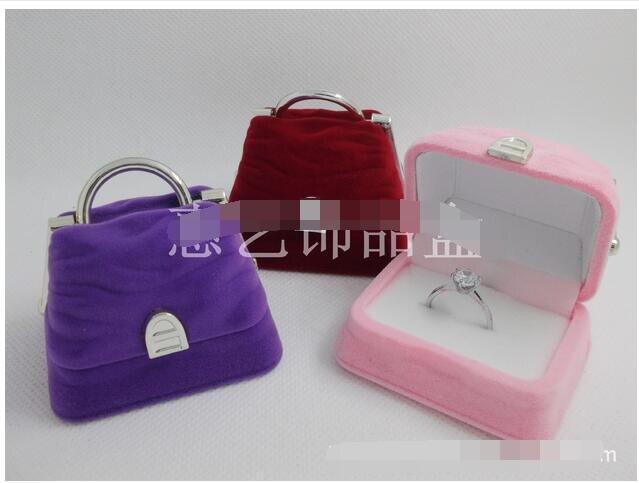 20pcs/lot free shipping creative style bag jewelry box ring earring necklace jewelry case velvet handbag Display Box