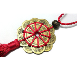 10 Lucky Charm Ancient I CHING Coins Prosperity Protection Good Fortune Home Car Decor Red Chinese Knot FENG SHUI Set