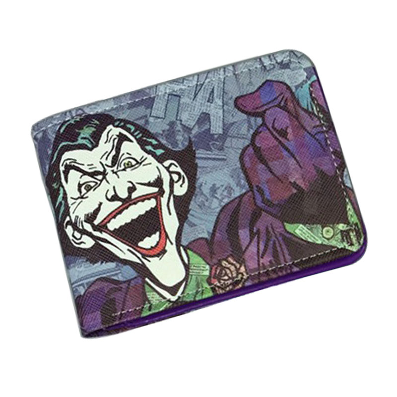 Comics DC Marvel Bioworld Wallets Cartoon Anime Movie Jokers Printed Purse PU Leather Card Money Bags Fun Joker Short Wallet