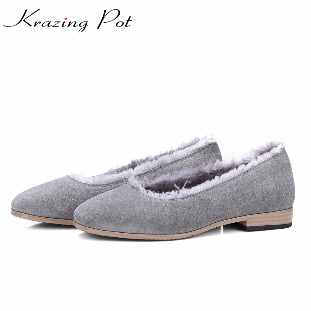 Krazing Pot 2018 sheep suede sheep fur keep warm solid woman round toe low heels pumps fashion pregnant autumn winter shoes L17 krazing pot empty after shallow shoes woman lace work flats pointed toe slip on sheep suede causal summer outside slippers l16